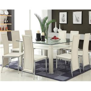 Acme Furniture Riggan Contemporary White Leg Table with White Vinyl Chairs Set