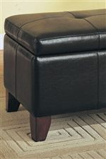 Button-Tufted Seat and Tapered Block Legs