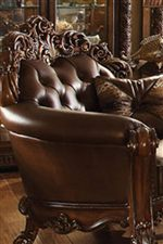 Exposed Wood With Carved Detail And Tufting