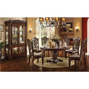 Acme Furniture Vendome Curio Cabinet with Glass Doors and Mirrored ...