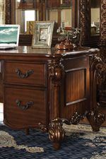 Home Office Furniture with Decorative Bail Pulls and Carved Wood on Feet and Sides