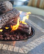 Fire Pit Lava Rock and Table Top Detail