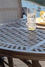 Woven Pattern on Table Top Allows for Water to Easily Pass Through