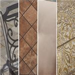 A Mix of Aluminum Frames, Porcelain Table Tops, & Sunbrella® Fabrics in Solid Beige & Gold Pattern