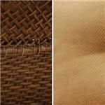 A Mix of Steel Woven Wicker with a Natural Brown Finish & US Cone Jacquard Fabrics in Golden Paprika