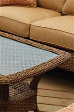 Open Weave Wicker Top Under Tempered Glass