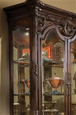 Glass Doors and Shelving with Acanthus Carving on Curio
