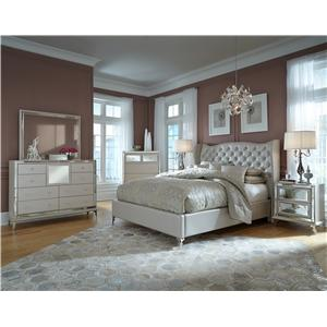 Michael Amini Hollywood Loft Upholstered Dresser and Rectangle Mirror with Crocodile Print