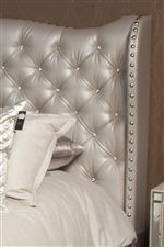 The Upholstered Bed Combines Deep Tufts with Gem-Like Buttons for a Look that is Steeped in Tradition and Elegance