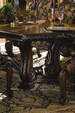 Ornate Carved Trestle Base on Rectangular Dining Table