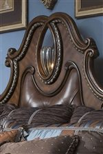 Leather Padded Headboard Panel with Metal Scroll Work and Accent Light