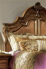 Traditional Carved Details Highlight Panel Headboard