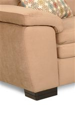 Sloped, Welt-Trimmed Pillow Arms and Sturdy Wood Block Legs