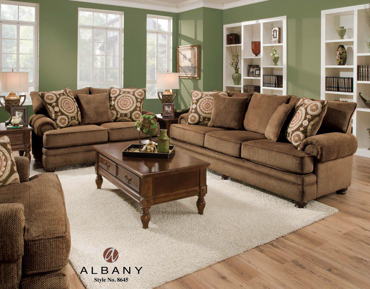 Albany 8645 Traditional Stationary Sofa With Oversize Rolled Arms   Louis  Mohana Furniture   Sofa