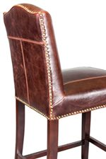 Leather Back and Seat with Nail Head Trim and Exposed Stitching
