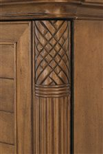Carved & Fluted Decorative Details on Pilasters Provide Eye-Catching Texture