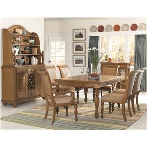 American Drew Grand Isle 7-Piece Island-Inspired Single Pedestal Table & Dining Arm/Side Chairs with Upholstered Cushion Seats & Backs Set