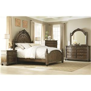 American Drew Jessica McClintock Home - The Boutique Collection Queen Sleigh Bed with Linen Tufted Headboard and Footboard