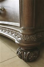 Intricate Patterned Molding with Carved Bun Feet on Select Items