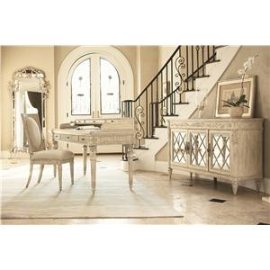 American Drew Jessica McClintock Home - The Boutique Collection Glass Top Round Dining Table with Corinthian Style Pedestal