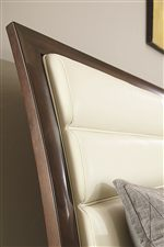 Upholstered Bi-Cast Leather Headboard on Upholstered Bi-Cast Leather Bed