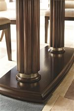 Double Pedestals with Reeding and Gold Trim Featured on the Pedestal Dining Table