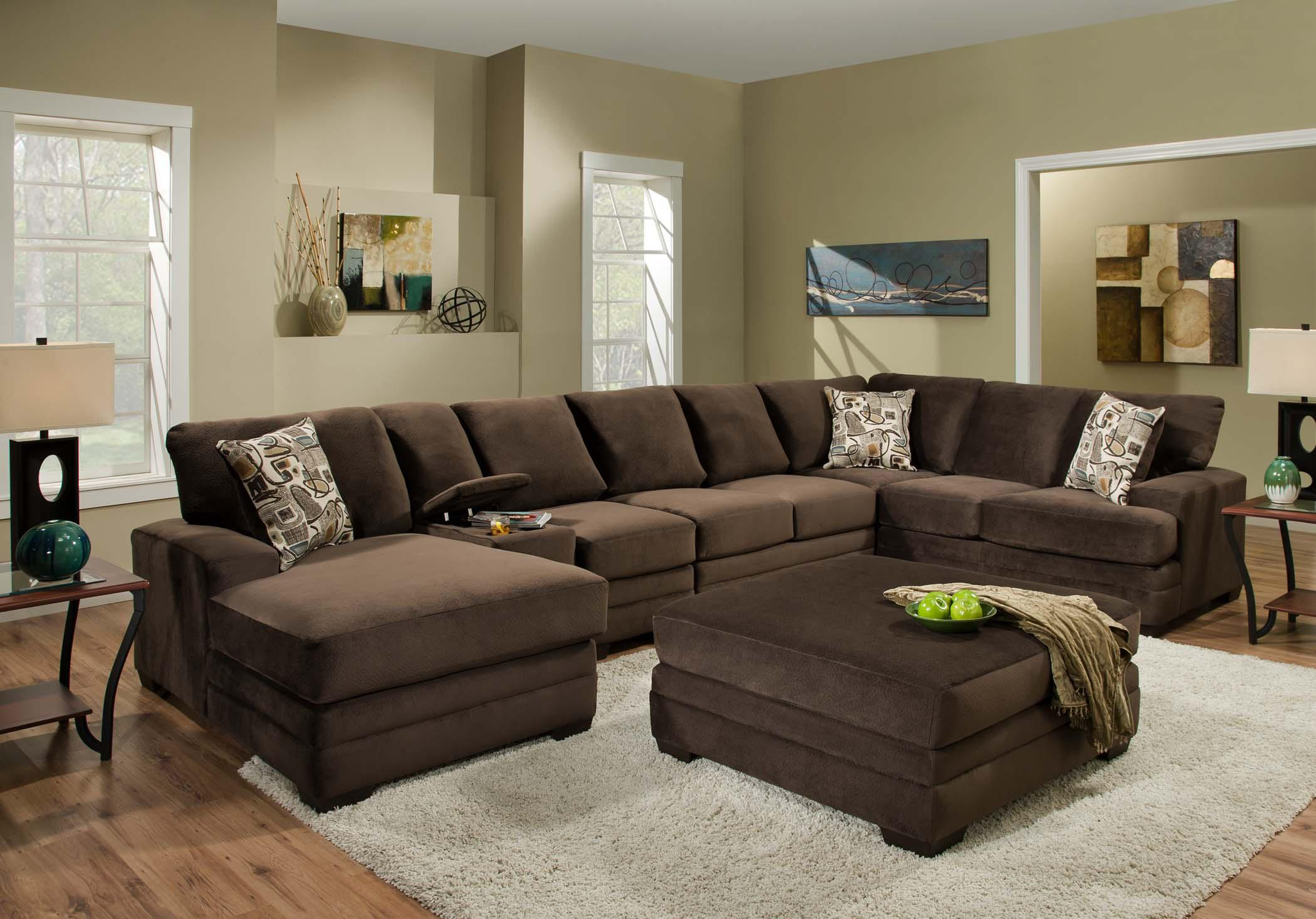 Contemporary Sectional Sofa with 6 Seats and Console 3500 by