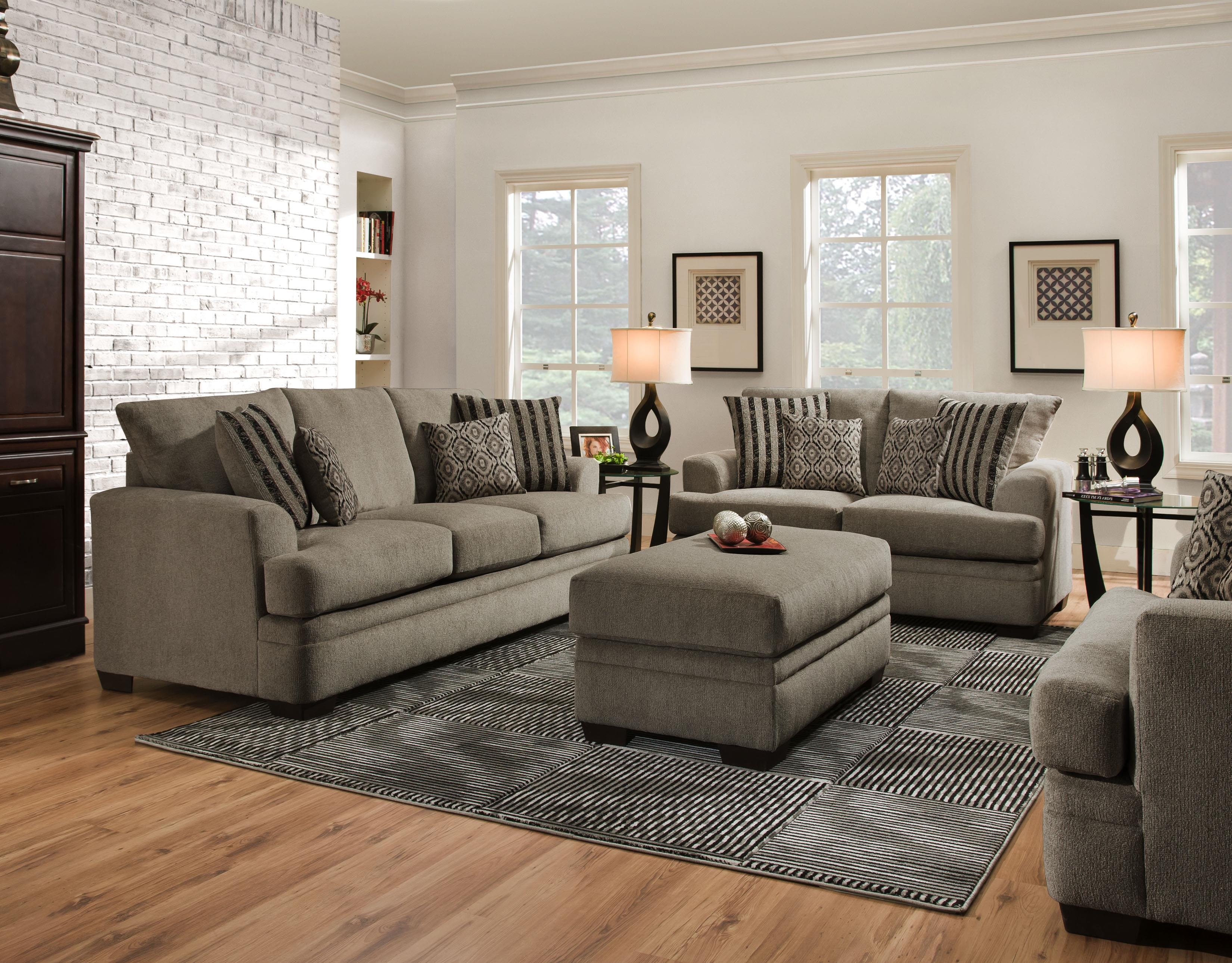 American Furniture 3650 Casual Sofa with 3 Seats Wayside
