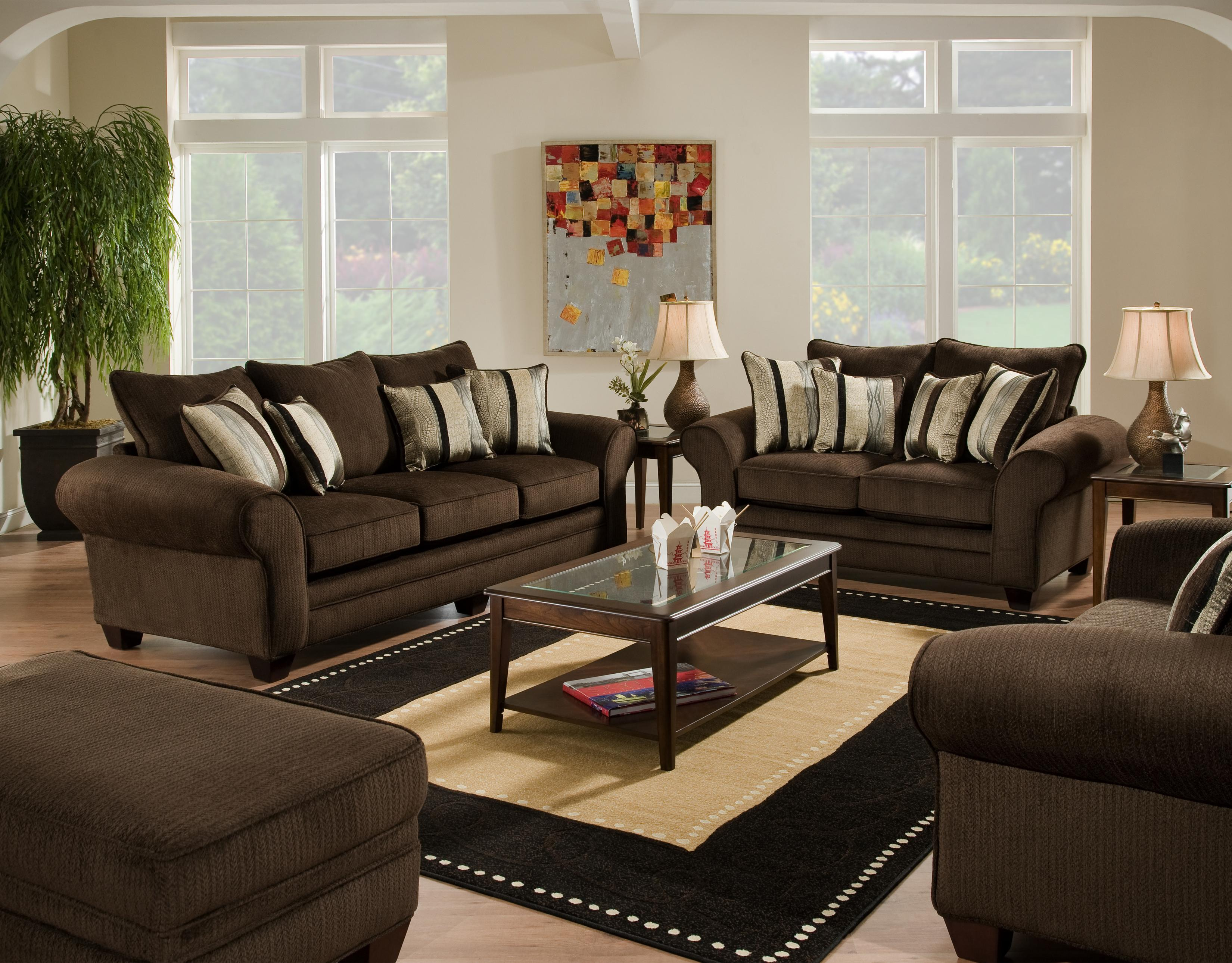 American Furniture 3700 Stationary Living Room Group   Item Number: Waverly  Godiva Living Room Group Part 53