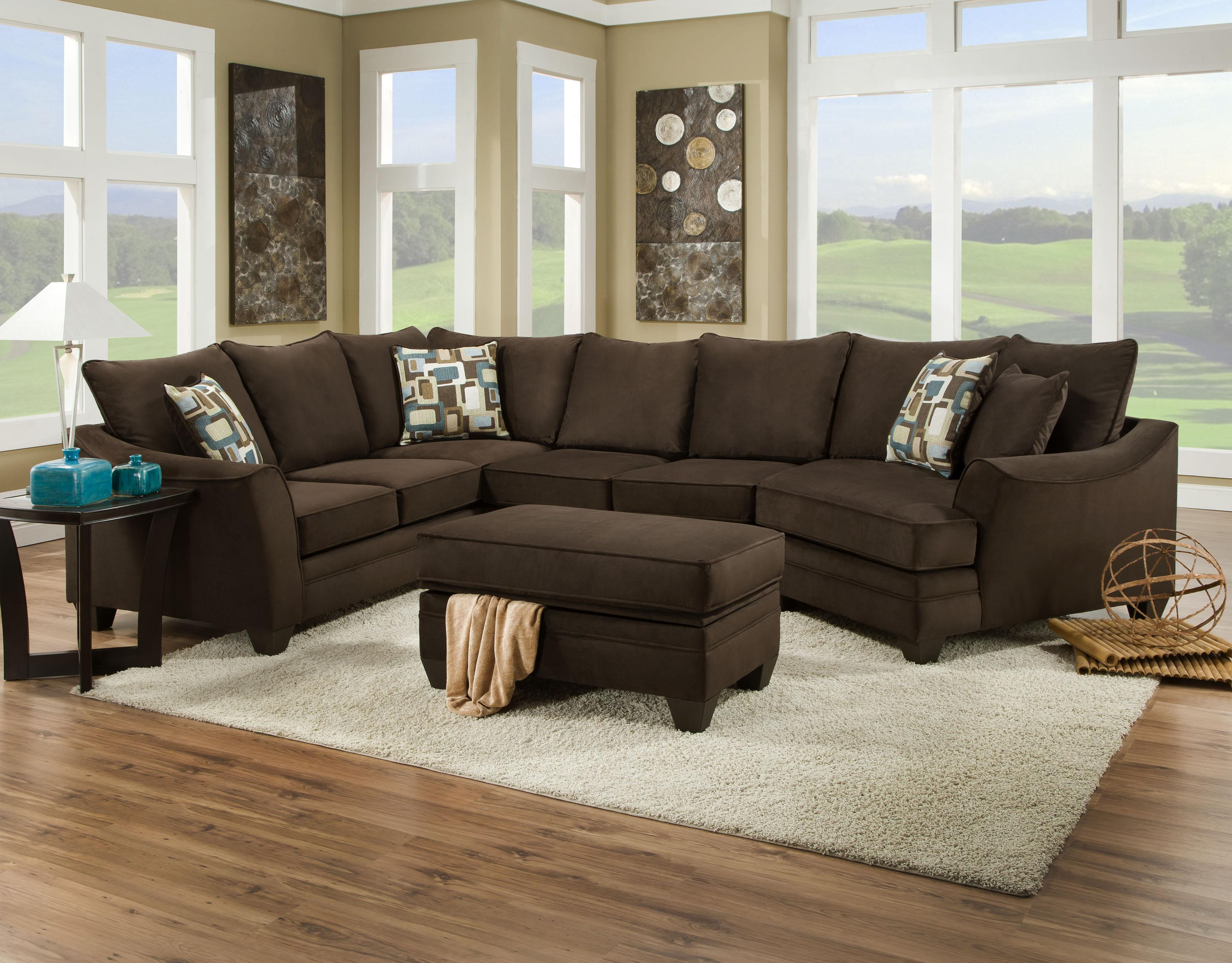 Sectional Sofa that Seats 5 with Left Side Cuddler 3810 by