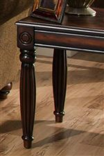 Carved Details and Fluted Legs Accent this Living Room Table Collection
