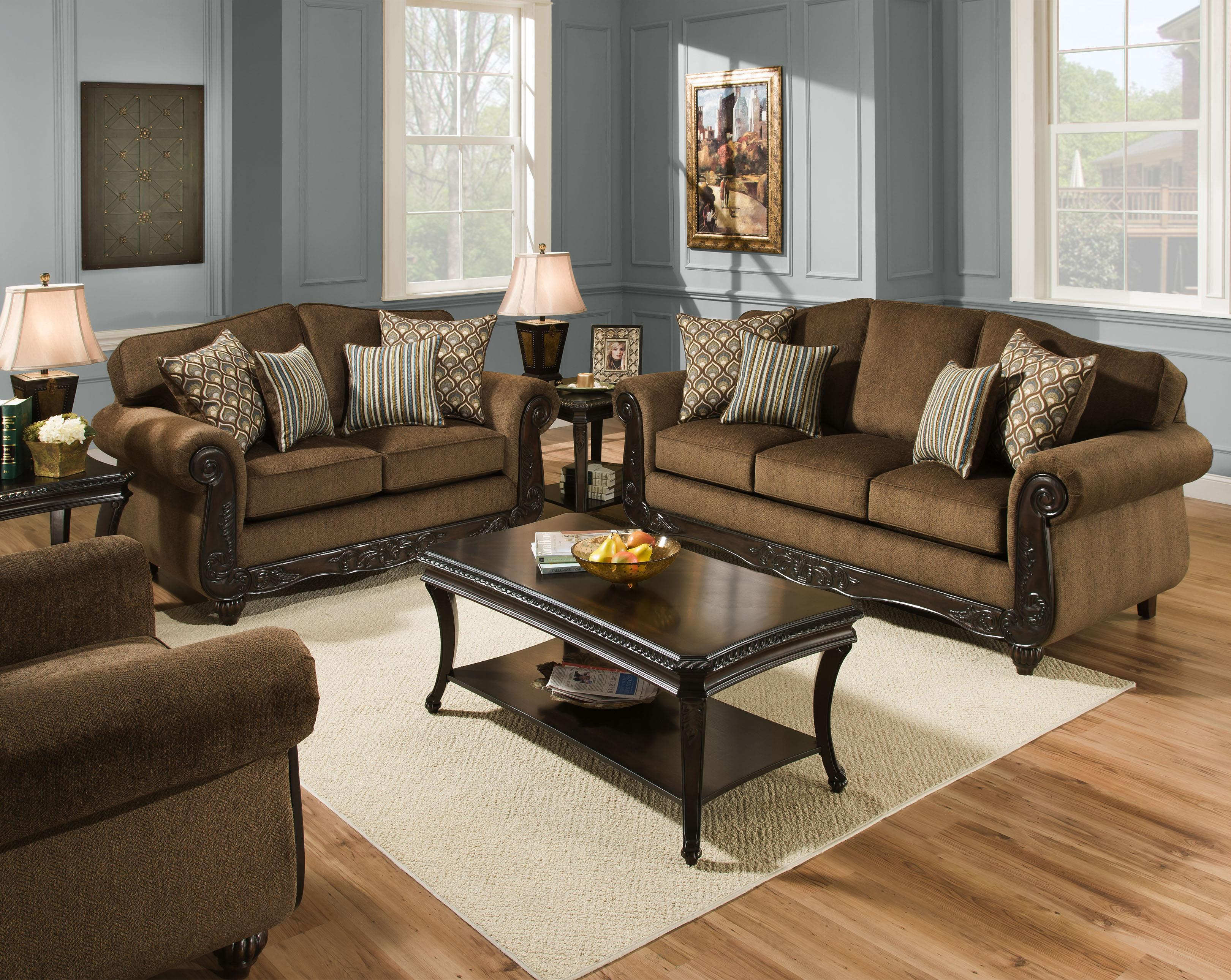 Sofa with Wooden Trim 6700 by American Furniture Wilcox