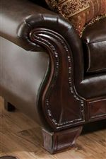 Decorative Rolled Arms with Wood Face Accent Create a Whimsical Detail from Traditional Decor