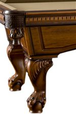 Elegant Molding and Ball and Claw Legs Featured on the Pool Table