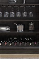 Bar Includes Open Shelving, Stemware Storage, and a Built In Wine Rack