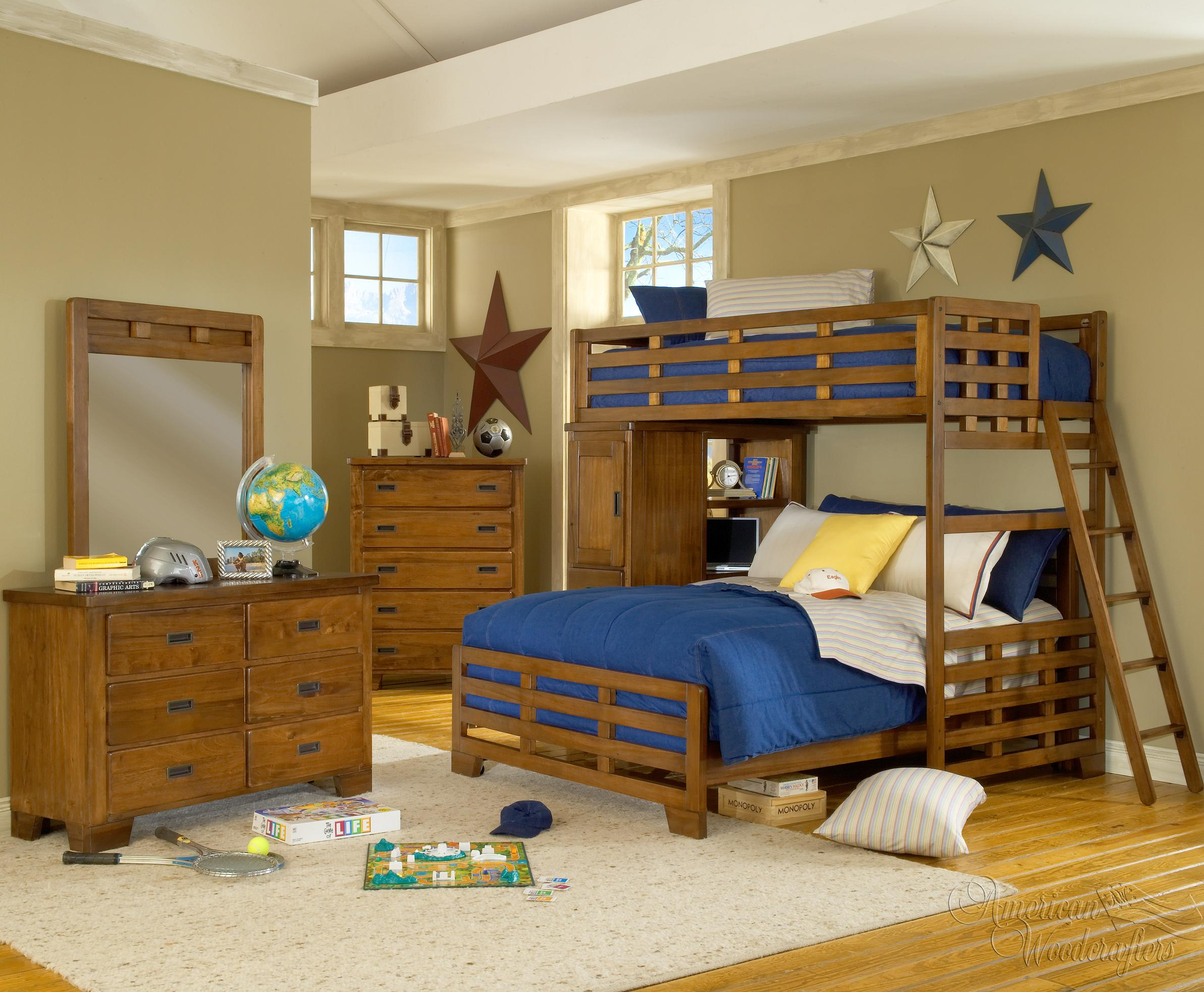 American Woodcrafters Heartland  Twin Loft Bed Over Full Bedroom Group - Item Number: 1800 F Bedroom Group 4