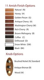Collection Available in Eleven Custom Amish Finishes with Three Knob Options