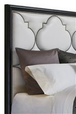 Upholstered Panel Bed with Quatrefoil Motif Nailhead Trim
