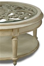 Elaborate Carved Details and Glass Top Insert Add Interest to Occasional Tables