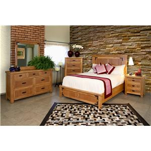 International Furniture Direct Lodge Queen Rustic Casual Panel Bed