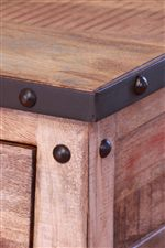 Table Tops Feature Metal Trim and Nailhead Trim