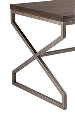 Select pieces display metal accents in a warm metallic finish with a copper tone