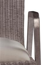 Woven wicker and iron finished in silver leaf prove to be a highly sophisticated pairing