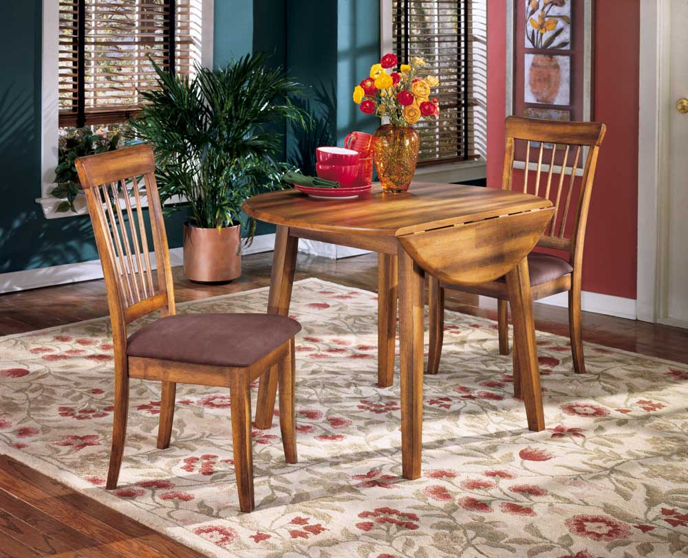 Ashley Furniture Berringer Hickory Stained Hardwood Round Drop Leaf Table    Rooms And Rest   Kitchen Tables