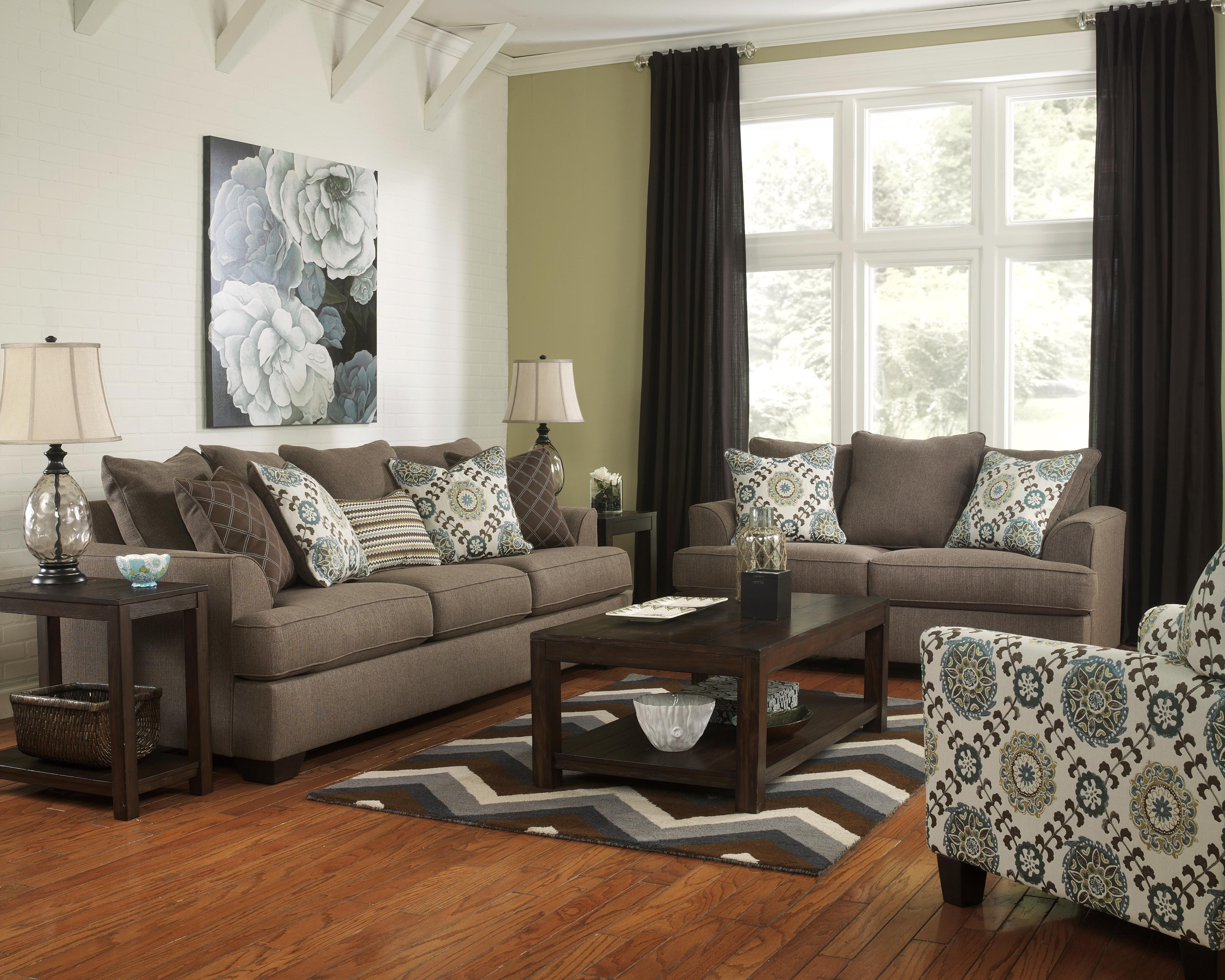 Ashley Sofa Sets Durablend Knox Coffee Leather Sofa By