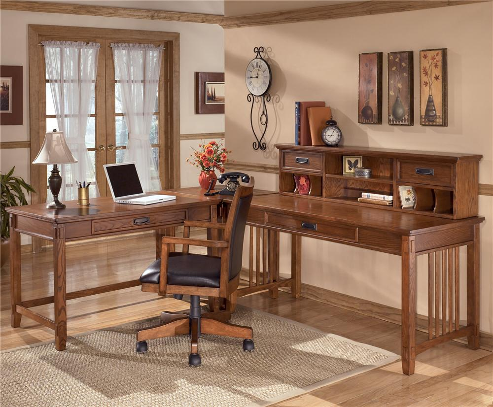Ashley Furniture Cross Island L Shape Desk With Low Hutch   Item Number:  H319