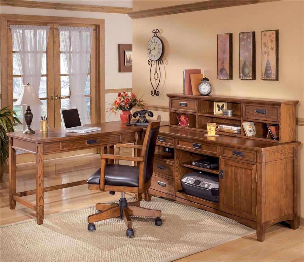 Ashley Furniture Cross Island L Shape Desk With Low Hutch | Wayside  Furniture | L Shape Desks