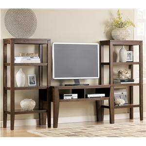 Signature Design by Ashley Deagan Contemporary TV Stand with 2 Pier Open Bookcases