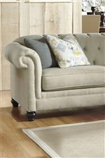 Chesterfield Style Sofa and Loveseat with Reversible Seat Cushions