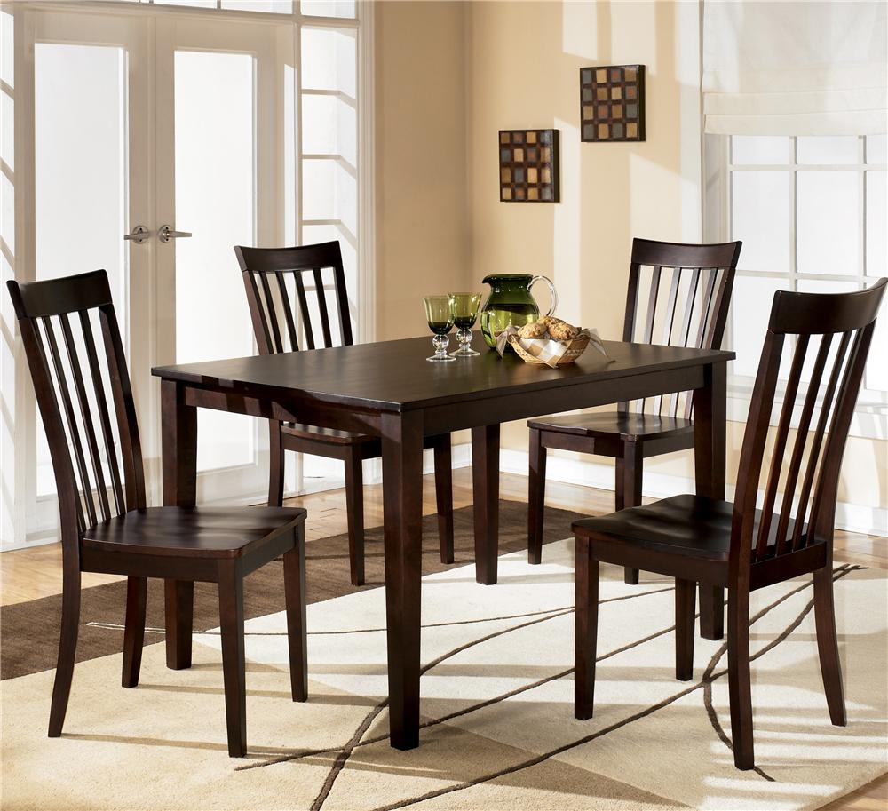 Ashley Furniture Hyland Rectangular Dining Table with 4 Chairs - Item Number D258-225 : wood kitchen table sets - pezcame.com